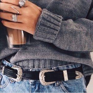 silver double buckle belt
